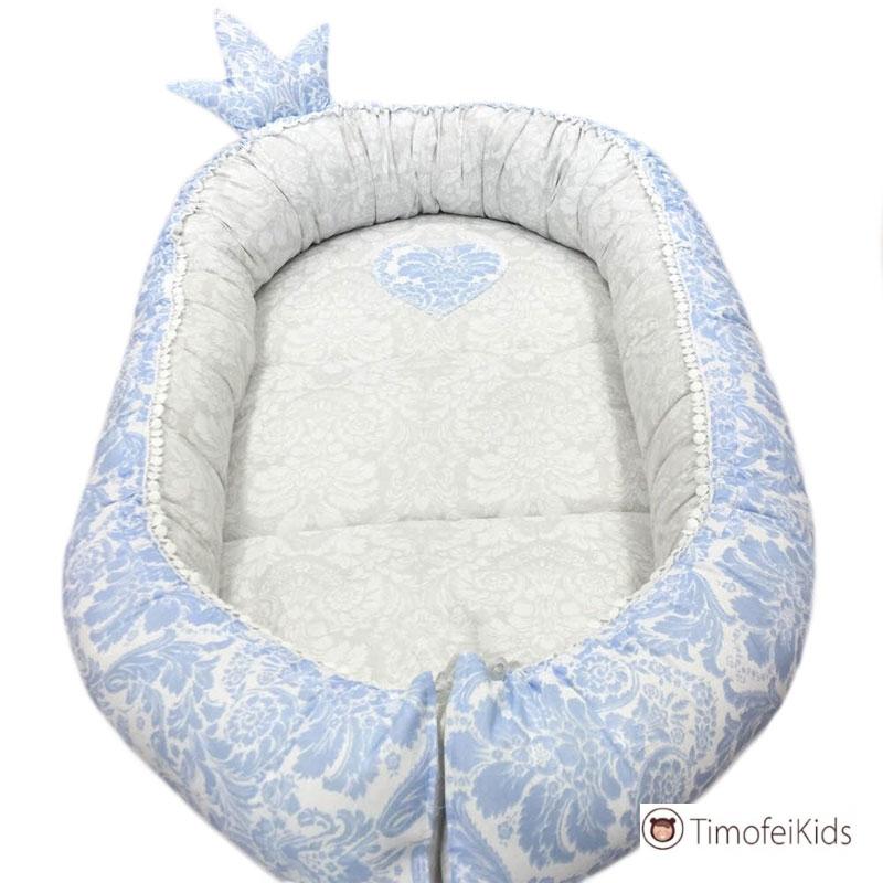 Кокон гнездышко с короной от 0 до 9 месяцев