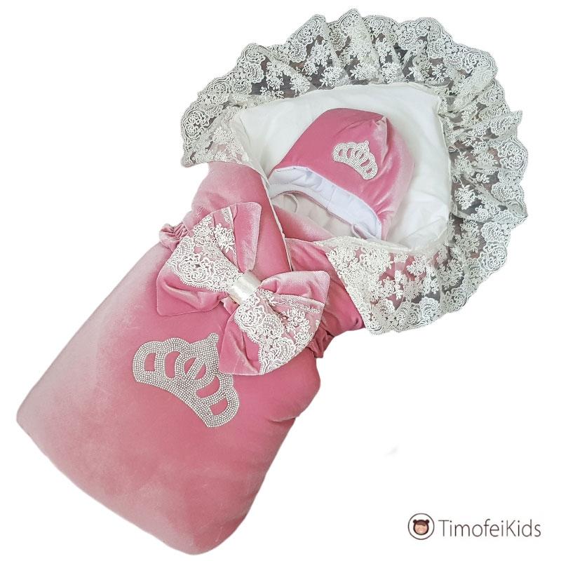 Конверт на выписку с короной розовый