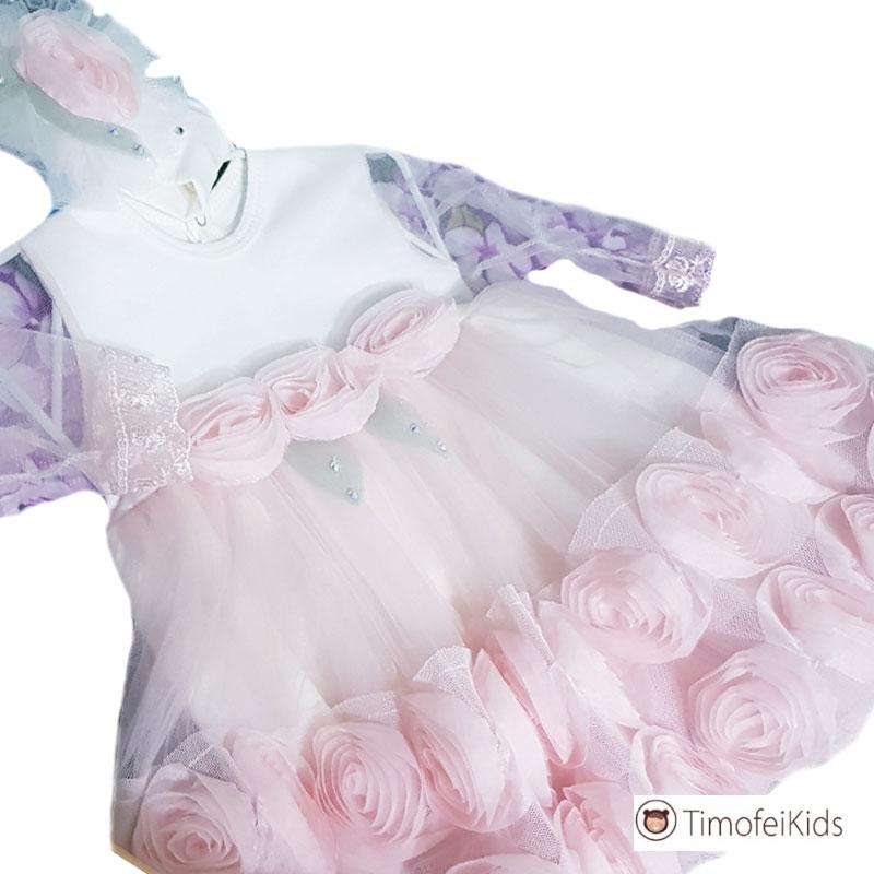 Платье для летней выписки с прозрачными рукавами