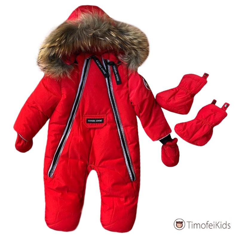 Зимний канадский красный комбинезон