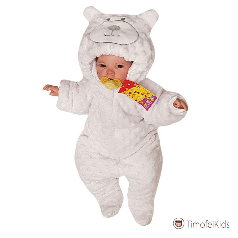 Утепленный кобинезон Мишка белый