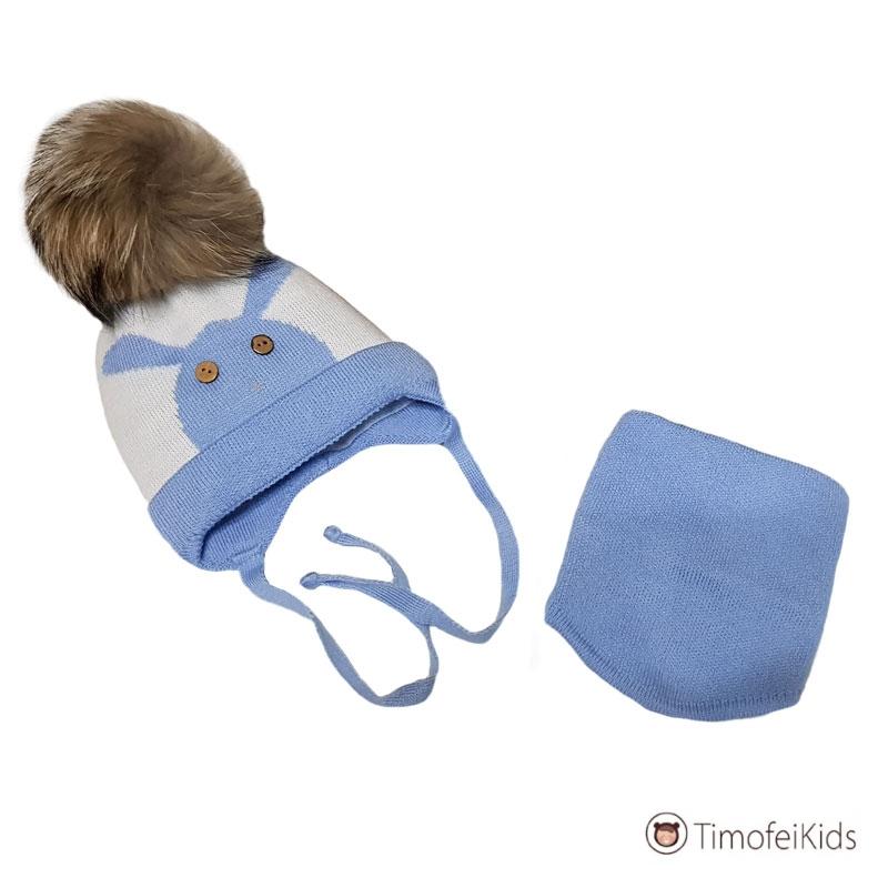Зимняя шапочка для новорожденного со снудом