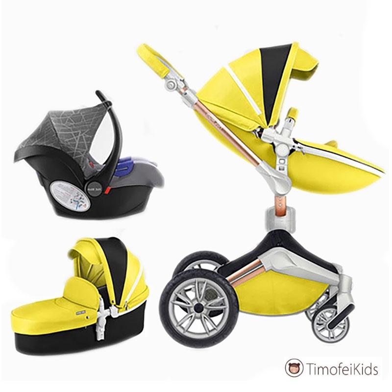 Коляска  Hot mom 2 в 1 желтого цвета